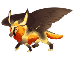 Fennec Fox x Bearded Vulture Gryphon by Kingfisher-Gryphon
