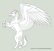 Young Gryphon Lineart by SaraChristensen