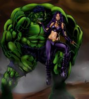 HULK and X23 by jey2dworld