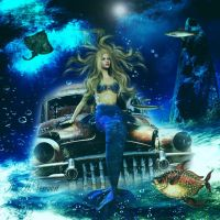 Mermaid On sinking  Car by annemaria48