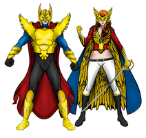 Gold Hawk and Queen Eagle (Redesigns) by JR19759