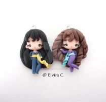 Cat's eye polymer clay charms by elvira-creations