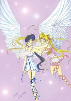 seiya and usagi angel style by kou-usagi