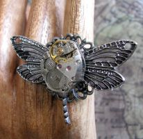 Dragonfly Steampunk Ring by GraceCM