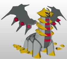 Giratina papercraft model by javierini