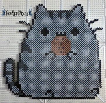 Pusheen Eating a Cookie by PerlerPixie