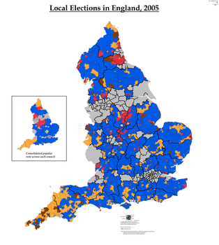 Local Elections in England, 2005 (Simplified) by AJRElectionMaps