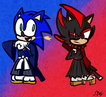 Sonic and Shadow as Samurais by TheSloth1000