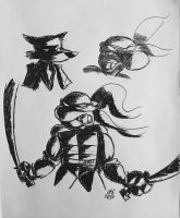 Old Ninja Turtle Doodles by TheFugitoid