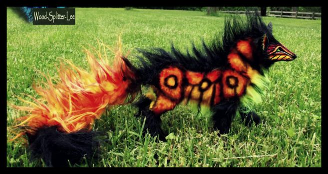 --SOLD--Fully Hand Made Poseable FIRE WOLF! by Wood-Splitter-Lee