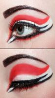 Red and white eyeshadow by Creativemakeup