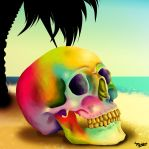 my skull at the beach by PirnyArt