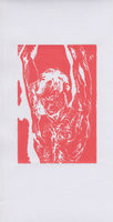 Crucifixion in Rose - Monoprint by joshthecartoonguy