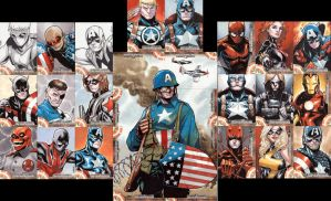 captain america sketch cards by lazeedog