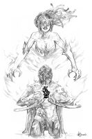 Endymion Summons Medusa - Pencils by AenTheArtist