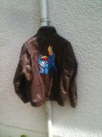 My Little Pony:custom Rainbow Dash leather jacket! by vulpinedesigns