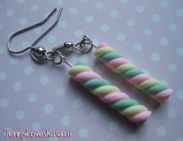 Candy Swirl Earrings by JennyLovesKawaii