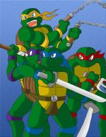 Old TMNT posing by Tigerfog