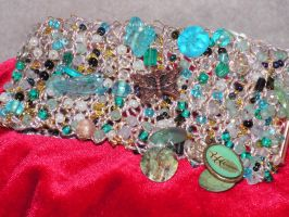 Reflections of Air - Hand Knitted Wire Bracelet by nightowl2704