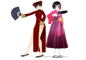 MMD Nyotalia Fem!China and Fem!Japan Fans by EmD-Neko-Chan