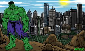Hulk over the city by ZZoMBiEXIII