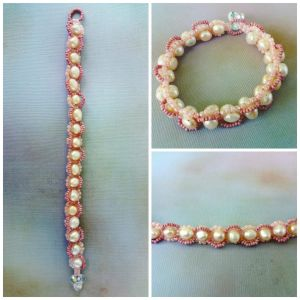 Pink and Cream pearl bracelet by EverAfterDesigns