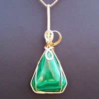 Malachite in Gold Pendant by innerdiameter