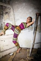 Woman in Colorful Jumpsuit by DWaschnigPhotography