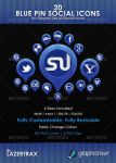 Blue Pin Social Icons by Lazertrax