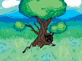 A Mysterious Pokemon Hiding Behind A Tree by danceswithzerg