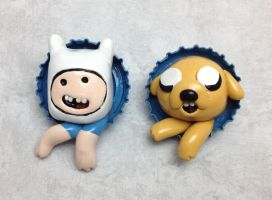 Finn and Jake Pop-Out Buttons by LeiliaK