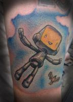 Flying Robot Tattoo by tat2shippey