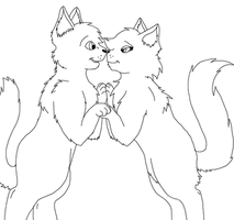 Cat couple lineart by pspsp13