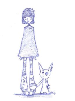 The gurl and her pet by boogiepopxerror