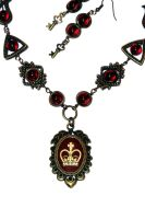 Victorian Jewelry - Necklace - Red Royal Crown by CatherinetteRings