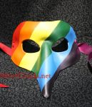 Gay Pride Leather Rainbow Beaked Mask by SilverCicada