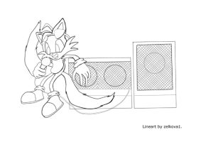 DJ Tails Lineart by ToonBeast