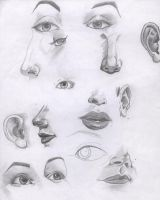 practice: eye, mouth and nose by Luphia