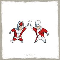 Little Friends - Captain Canuck and Guardian by darrenrawlings