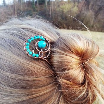 Copper hair fork with green turquoise by Astukee