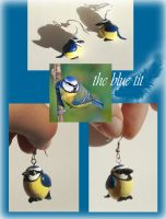 Blue Tit Earrings by Sturmdaemonin