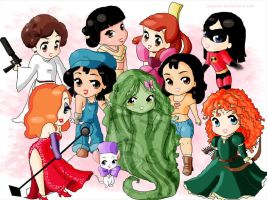 Chibi-Disney princesses and girls by rebenke
