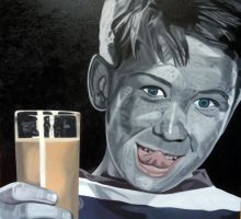 Kinder 3  Painting Oilpainting 140 x 140 x 3cm by scepanovic