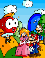 Mario 'n Friends :Colored: by JamesmanTheRegenold