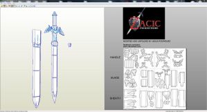 Link Master Sword And Sheath Unfolded By Zacic by zacic