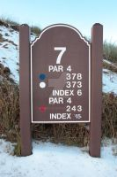 seventh tee sign on a snow covered golf course by morrbyte