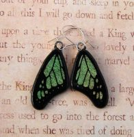 Green Glass Butterfly Earrings by FusedElegance