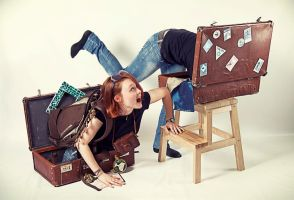 Travel in suitcase by Melaamory