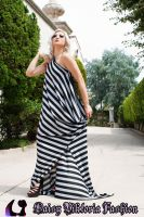Striped Drape Dress by DaisyViktoria
