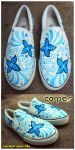 blue flower shoes by JONY-CAKEP